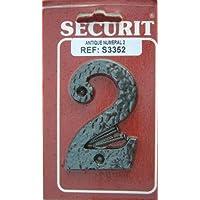 Antique wrought iron effect black No 2 Door Number - ukpricecomparsion.eu
