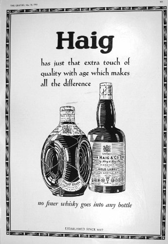Price comparison product image Old Original Antique Victorian Print 1930 John Haig Scotch Whisky Schweppes Ginger Ale Soda Water Toni 305M228