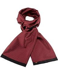 Mailando Herrenschal aus Kaschmir-Woll-Mix und Seide, Kachel Muster gepunktet, sehr elegant, rot – weiss