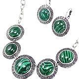Zantec 3PCS/Set Böhmen Stil Frauen rund türkis Set Halskette Ohrringe Armband