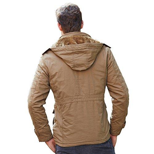 URBANFIND Herren Normale Passform L?ssige Kapuzen Vlies Winter Mantel Klassische Mode Warm Baumwoll Jacke Khaki 1