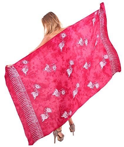 mano floreale dipinta beachwear rayon più il costume da bagno coprire involucro sarong hawaiano Rosso rubino