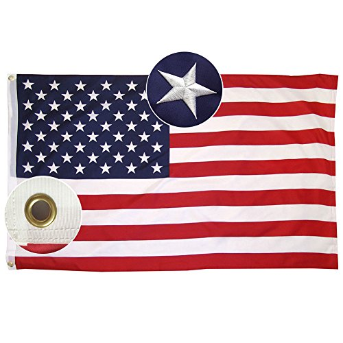 Lixure Amerikanische Flagge/Fahne USA Flagge 90x150cm(3x5 Fuß) US Flagge Permium Qualität Langlebige 210D Nylon für Draußen/Drinnen Sticksterne mit Messing Ösen-Nicht Billiger Polyester MEHRWEG - Flagge Us Usa Amerikanische Flaggen