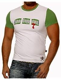 Rusty Neal Kurzarm Slim Fit Herren Rundhals Shirt Motiv T-Shirt Weiß RN-713, Größe:L