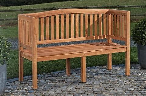 CLP Banc de jardin en bois de teck robuste MARVEL V2, résistant aux intempéries avec dossier (4 tailles au choix) 180 cm