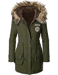 iBaste Abrigo Invierno Mujer Cuello con Pelo Capuchado Térmico Winter Coat Women Talla 34 36 38 40 42 44