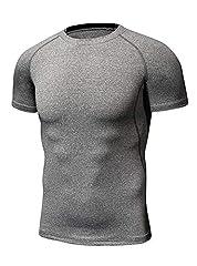 Idea Regalo - SWISSWELL Fitness T-Shirt Asciugatura Rapida Maglia a Manica Corta Compression da Uomo Sport Magro Stretto Livello Base Maglietta Bodybuilding Top Poliestere per Slim Fitness Allenamento Muscolare