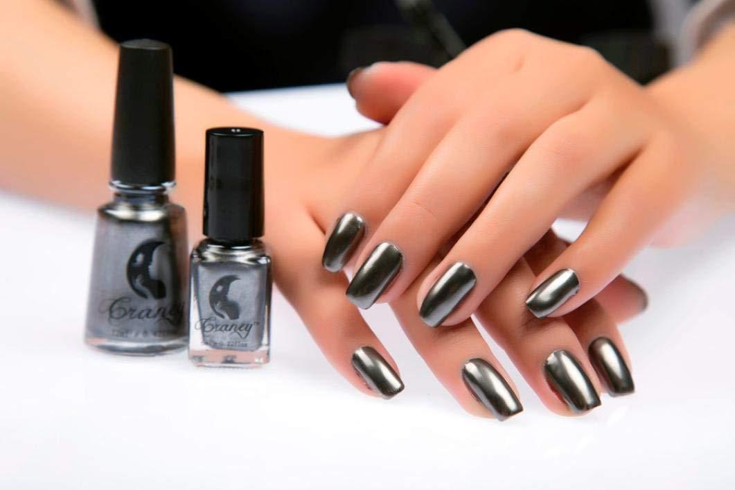Ogquaton Esmalte de uñas con Efecto Espejo de Color Metal, Negro Duradero y práctico