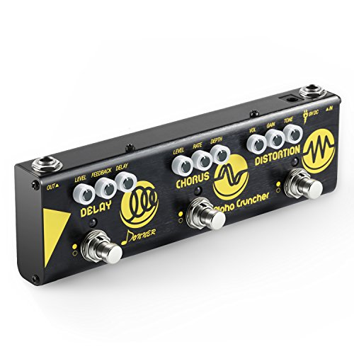Donner Multi Gitarre Effektpedal Alpha Cruncher 3 Typen Effekte Delay Chorus Distortion Pedal mit Adapter -