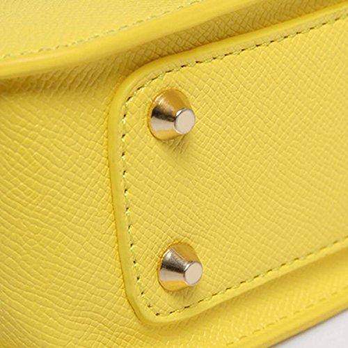 Mode Mini Umhängetasche Damen Kette Kurierhandtasche Geldbörse,Yellow Red