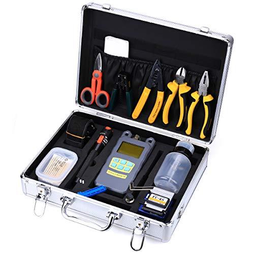 Glasfaser Kabel Kündigung Werkzeug Kits 23in 1Kalten Anschluss Werkzeug mit Die Faser Hackmesser Visual Fault Locator Lebensmittel Faser Abisolierwerkzeug