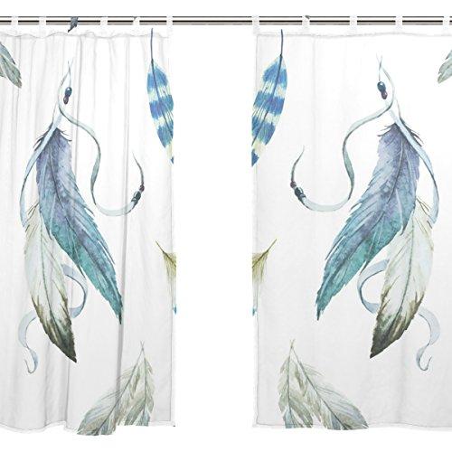 jstel 2pcs Voile cortina de ventana, Atrapasueños plumas de pavo real flores, de tul pura cortina Drape cama 55x 78(dos paneles Set