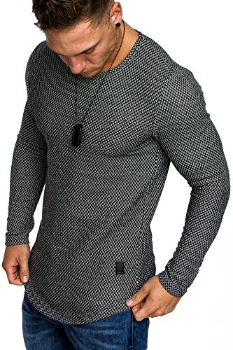 Amaci&Sons Oversize Vintage Herren Pullover Hoodie Sweatshirt Crew-Neck 6074 Schwarz M