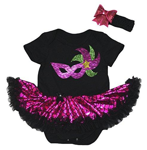 as Mask Black Bodysuit Hot Pink Scale Mermaid Tutu Nb-18m (6-12 Months) ()