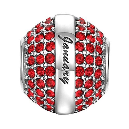 Soufeel Januar January Geburtsstein Dunkelrot Swarovski Kristall Charm 925 Sterling Silber (Januar-ring Geburtsstein)