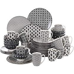 vancasso Haruka Servicio de vajilla de Porcelana,Servicio Combi de 48 Piezas 12 Tazas de café 12 tazones de Cereal 12 Platos de Postre 12 Platos de Comedor para 12 Personas