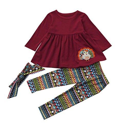 en Hirolan Langarmshirt Weihnachtsoutfit Schlafstrampler 3 Stück das Erntedankfest Kinderkleidung Kleinkind Baby Mädchen Kleid + Hose + Stirnband (Dunkel Rot, 100) (Türkei Baby-kostüm)