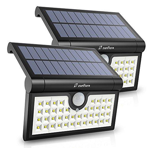 【2 Packungen】Zanflare 42 LED Sonnenenergie-Lampen-Bewegungs-Sensor beleuchtet für im Freien, Solarenergie-Wand-Licht mit faltendem Bewegungs-Sensor, drahtloses Licht im Freien wasserdicht für Garten, Zaun, Patio, Hof, Fahrstraße, Treppe, Außenwand