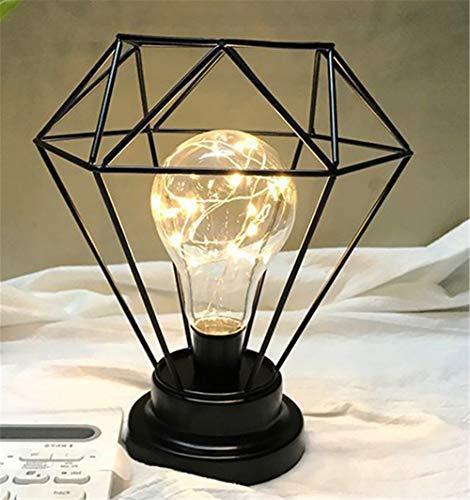 PANAX Eisen& Glas& Silberdracht Tischlampe Diamant/Sechseck Design -