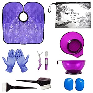 xnicx Second-Generation Purple Hair Dye Kit Hair Dye Coloring DIY Beauty Salon Tool Kit- Hair Tinting Bowl,Brush Comb,Ear Cover,Hair Salon Working Apron,Hair Coloring Cape
