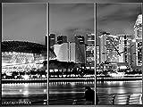 3 Tlg Leinwandbilder Wanduhr Großstadt City Sitzbank Kanal Aussicht Panorama Ausblick Wandbild Leinwand Bild Restaurant Büro Hotel Wohnzimmer Universität Heim Uhr 111x80 Lwb892