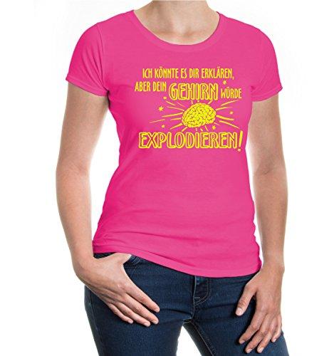 buXsbaum® Girlie T-Shirt Ich könnte es dir erklären, aber dein Gehirn würde explodieren Fuchsia-Neonyellow