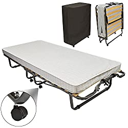 Beautissu Gästebett klappbar Monaco 90x200 cm Stabiler Metall-Rahmen - Klapp-Bett inkl. Matratze und Schutzhülle