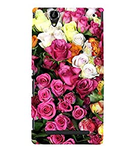 Lot of Different Roses 3D Hard Polycarbonate Designer Back Case Cover for Sony Xperia T2 Ultra :: Sony Xperia T2 Ultra Dual SIM D5322 :: Sony Xperia T2 Ultra XM50h
