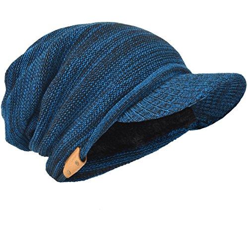 Herren Dick Knit Newsboy Cap Visier Mütze Hut Fleece Gefüttert Strickmützen B319 (Blau/Schwarz) (Herren Fleece Gefüttert Stricken Hut)