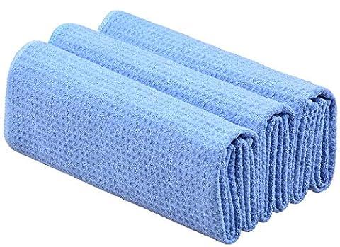 Sinland Microfiber Waffle Weave Kitchen Towels Dish Cloth 3 Pack 40cmx60cm Light Blue