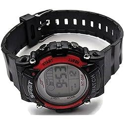 QBD Mädchen Damen Unisex Super Wert Wasserdicht Multi-Funktion LED Digital Stoppuhr Alarm Hintergrundbeleuchtung Sport Armbanduhr (v-red)