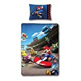 Mario Kart Bettwäsche für Kinder/Jungen, Kissen- und Deckenbezug (Einzelbett) (Blau)
