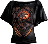 Spiral - Women - DRAGON FURNACE - Boat Neck Bat Sleeve Top Black