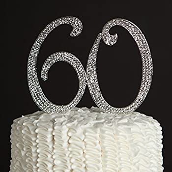 bling wedding cake toppers uk 60 cake topper for 60th birthday or anniversary silver 11939