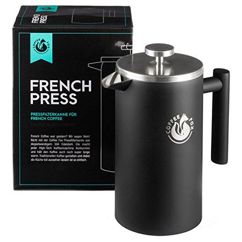 Coffee Fox French Press Kaffeekanne aus doppelwandigem Edelstahl Schwarze Pressfilterkanne...
