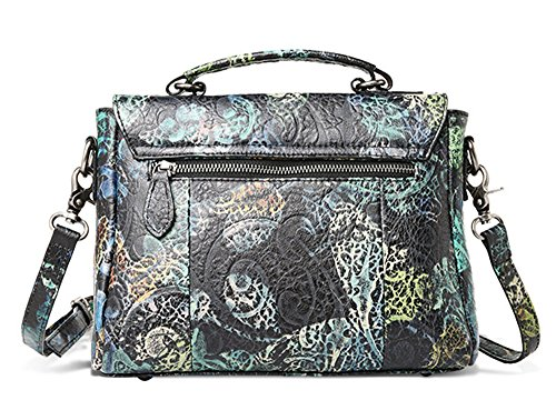 Sacs à main pour femme Xinmaoyuan peint imprimé Sacs à main en cuir sac Messenger sac à main femme en cuir Noir avec liseré bleu