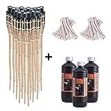 Topgoods 18x Bambusfackel 90cm mit 18x Ersatzdochte und 3x 1 Liter geruchsloses Lampenöl