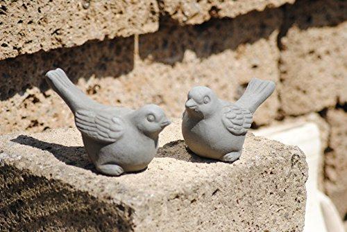 Unbekannt Vögel aus Terracotta,grau,2er Set,frostfest,ca. 15cm lang