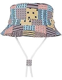 cicity Unisex Cappello della Benna da Bambini Cappello del Pescatore con  Cinghia Regolabile Protezione Solare Bucket 32af9ab98523