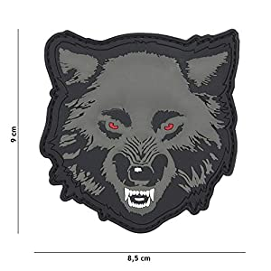"Patch 3D PVC Wolf ""Loup"" Couleur Gris / Cosplay / Airsoft / Camouflage"