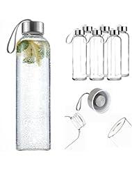 Pack de 6deporte cristal bebidas botella de agua 500ml con de bucle sin BPA botella de agua botella ecológica portátil a prueba de fugas portátil htuk®