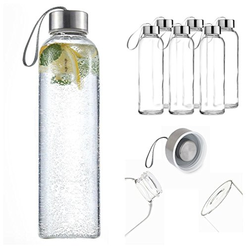 Pack de 6deporte cristal bebidas botella de agua 500ml con de bucl
