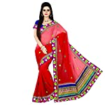 STYLE: Designer Saree FABRIC: Georgette BLOUSE FABRIC: Dhupian Saree Work: Embroidered Blouse Work: Embroidered Saree COLOUR: Red Blouse Color: Blue OCCASION: Party, Festival, Reception, Ceremonial Note: 1. The Shades May Vary Slightly From The Color...