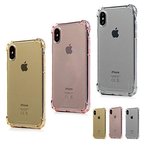 MAXFE.CO Schutzhülle Tasche Case für iPhone X TPU Silikon Cover Gemalt Etui Protective Schale Bumper Schmetterling + Eule 1 + Eule 2 Gold + Rose GOld + Grau