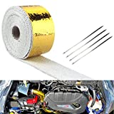 Dewhel 2x15 Ft Roll Exhaust Header Pipe Wrap Barrier Reflect-a-gold With 4 Ties Kit by Dewhel