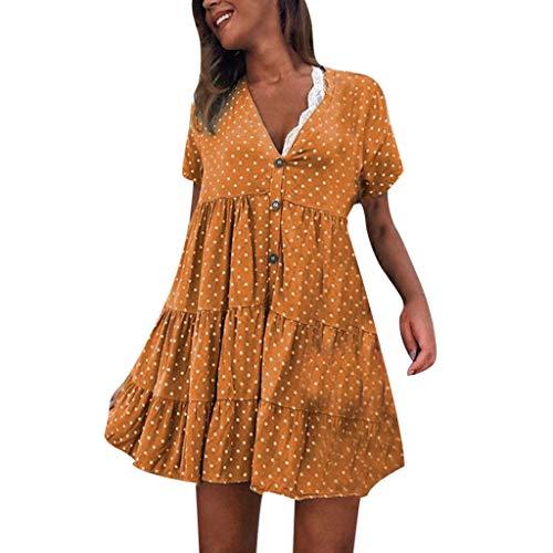 GOKOMO Rock Leinen Midi Rock KurzäRmeliges Kleid Mit V-Ausschnitt Und Tupfenmuster(Gelb,X-Large)