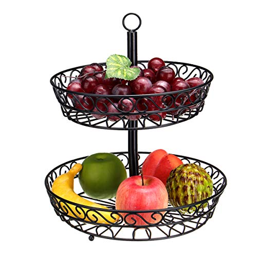 e Restaurant Obst Gemüse Korb 2 Tier Eisen Rack Speicherorganisator Ständer Halter Werkzeugzubehör ()