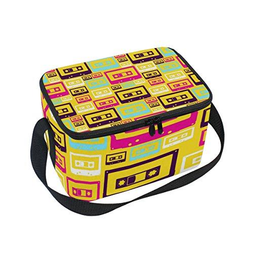 COOSUN Retro Pop Audio Cintas con Aislamiento Caja de Almuerzo Bolsa de frío Reutilizable Bolso de Mano con Correa para el Hombro Ajustable para Hombres Grande Multi