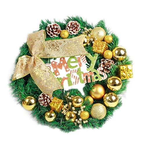 AMUSTER Weihnachten Deko Weihnachten große Kranz Tür Wand Ornament Girlande Dekoration Rot Bowknot Weihnachtsbaum Decor (One size, B)