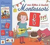 Mes lettres à toucher Montessori : Coffret avec 1 livre, 26 cartes lettres rugueuses et 26 cartes images